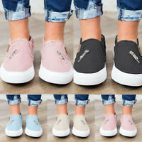 Women Canvas Flat Slip On Pumps Trainers Casual Loafers Plimsolls Shoes UK Size