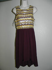 PINK OWL SEQUIN UPPER DRESS BURGUNDY MULTI-COLOR WOMENS LARGE HIGH LOW NWT
