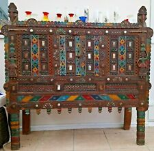 More details for fine indian damchiya dowry chest c.1920 carved and painted (glass not included)