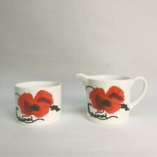 More details for wedgwood susie cooper cornpoppy milk jug & open sugar bowl for tea