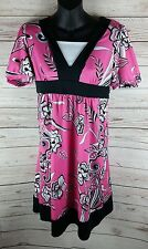 Mary-Kate and Ashley 14/16 Pink Black White Floral Stretch Dress Party Casual