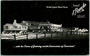 GALLUP, New Mexico Route 66 Roadside Postcard HOTEL EL RANCHO Night Scene 1950s