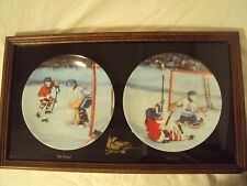 Boys Hockey 2-Plate Set He Shoots! He Scored! Limited Edition w/Custom Frame