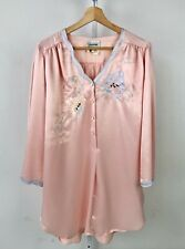 NATORI Neiman Marcus Vintage Satin Nightgown Pajamas Floral Henley Button Pink S