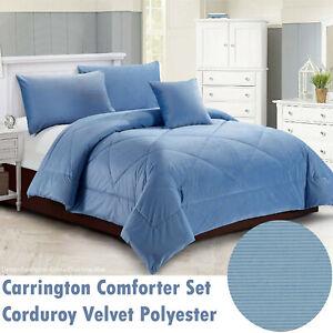 Carrington Comforter Set | Quilt Set | 100% Corduroy Velvet Polyester | Blue