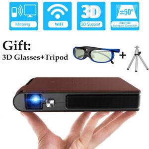 Mini 3D DLP Projektor Home Theater Wireless Screen Mirroring +Tripod +3D Glasses