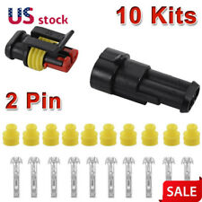 10 Kit 2 Pin Way Car Waterproof Electrical Connector Plug Wire Car Auto Set