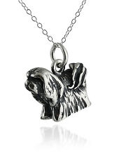 Lhasa Apso Dog Necklace - 925 Sterling Silver - 3D Charm Pet Dogs Pets Doggy New