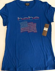 bebe Logo BASIC Rhinestone American Flag Soft Cotton TShirt Color Blue Size L