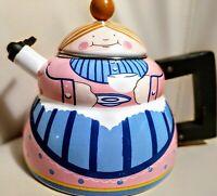 """Vintage Novelty Tea Pot Kettle Enamel Wooden Handle 9""""x8"""" GRANNY"""