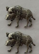 Wild Boar 2 A65 Fine English Pewter Animal Cufflinks Handmade In Sheffield