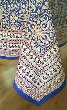 "Anokhi Blue & White Floral Cotton Tablecloth, 70""x108"""