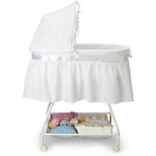 Portable Baby Basinet Newborn Cradle White Moses Basket Infant Nursery Wheel New