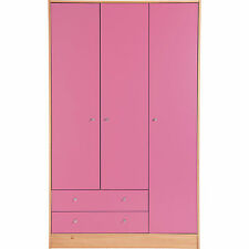 3 Door 2 Drawer Malibu Cupboard Wardrobe Chest Kids Bedroom Furniture Draws Pink