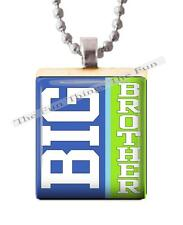 Big Brother Scrabble Tile Pendant Recycled Handcrafted Jewelry New Baby