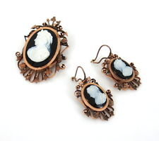 Antique Onyx Cameo & 9K Rose Gold Pendant Brooch & Earrings Set