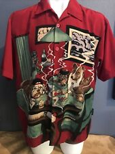 Vintage Dragonfly Red Hawaiian Casual L Shirt Dogs playing poker, Classic !