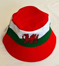 Welsh Red Dragon SUMMER BUCKET HAT,  Wales Football, Cymru