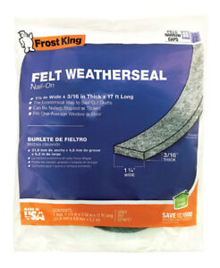 """Frost King S214/17H Felt Weather-Strip 1-1/4"""" x 3/16"""" x 17', Grey"""
