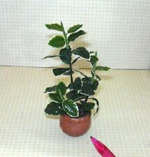 "Miniature Wilhelmina Hand Painted Fiddle Leaf Fig Plant: DOLLHOUSE 4"" Tall 1:12"
