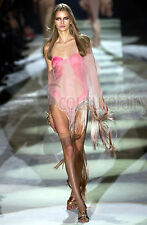 ICONIC GUCCI BY TOM FORD SS 2004 HOT PINK OMBRE TASSEL SILK COVER UP BLOUSE TOP