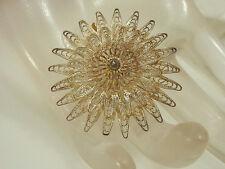 Vintage 1940s Thailand Sterling Silver Filigree Flower Brooch  108E
