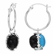 Turquoise in 925 Sterling Silver Charming Hoop Earrings W/Onyx and Created