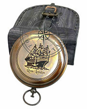 Antique Brass Push Button Compass~Vintage Maritime Pocket Gift With Leather Case