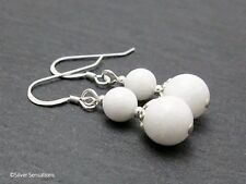 Bright White Agate Gemstones & Sterling Silver Handmade Ladies Beaded Earrings