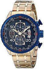 Invicta Oro Gold Hombre Reloj Pulsera Bracelet Watch Man Crystal Blue Steel Hand