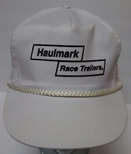 Vintage 1990s HAULMARK RACE TRAILERS Advertising WHITE SNAPBACK HAT ROPE CAP