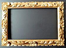 CADRE BOIS DORÉ SCULPTÉ ROCAILLE ITALIEN 37 x 24 cm proche de 5P FRAME Ref C514