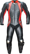 Combinaison Moto en Cuir Rouge Noir Motocycliste Mono Professionnel CE BIESSE