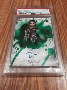 2018 Topps WWE Undisputed Autograph Green 41/50 Seth Rollins Card PSA 10 Shield