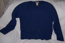 L.L. Bean Sweater Navy Blue 100% Soft Nice Cotton Size Large