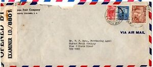 Colombia 1943 Airmail cover to US with Jamaica intercept censor label