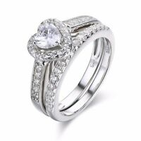 SFFF53 .925 Sterling Silver Halo Heart CZ Engagement Wedding Ring Set Size 6,7,8