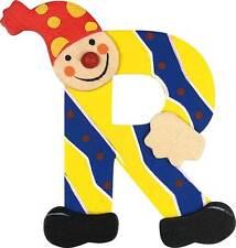 Lettre prenom de porte clown en bois R jaune, décoration de porte **