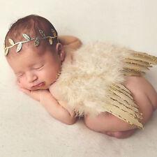 Newborn Baby Girls Boys Angel Wings Leaf Headband Photo Photography Props UK
