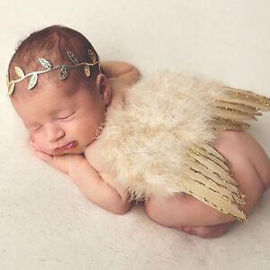 Newborn Baby Girl Boy Angel Wings Leaf Headband Costume Photo Photography Prop
