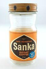 Vintage 1970s Instant Coffee Sanka 2oz Caffeine Free Empty Glass Jar L697