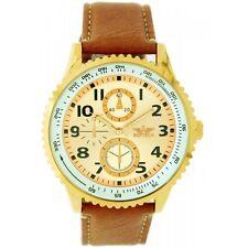 Softech Men's Gold Bezel Tan Brown PU Leather Strap Wrist Watch Analog Quartz
