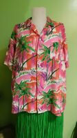 Vtg Hawaiian Shirt Tiki Aloha Palm Trees Beaches Button Up Polynesian Pink