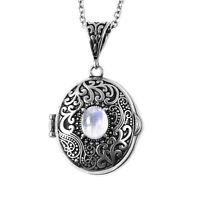 "White Moonstone Pendant Necklace Fashion Jewelry Size 24"" Ct 25 Stainless Steel"