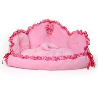 New Pink Princess Lace Pet Dog Cat Sofa Bed House Mat Cushion+Moon Pillow Size M