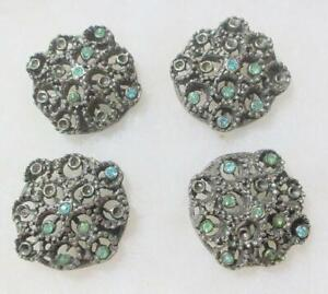 Set of 4 Large Victorian Rhinestone Buttons