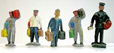 Ho Scale Figures featuring Five Men-Four Station Porters & Postal Worker-Vguc
