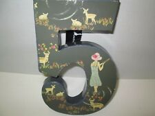 """Decorative """"5"""" Wall Plaque, Deer, Flowers, and Girl Design, NWT"""