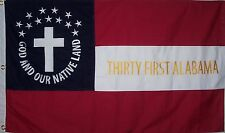 HEAVy COTTON 3 FEET X 5 FEET 31st ALABAMA CIVIL WAR FLAG - CSA - FREE SHIPPING