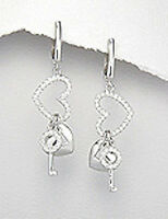 "1.89"" Sterling Silver Sparkling CZ Heart Lock & Key Huggies Dangle Earrings 7.9g"